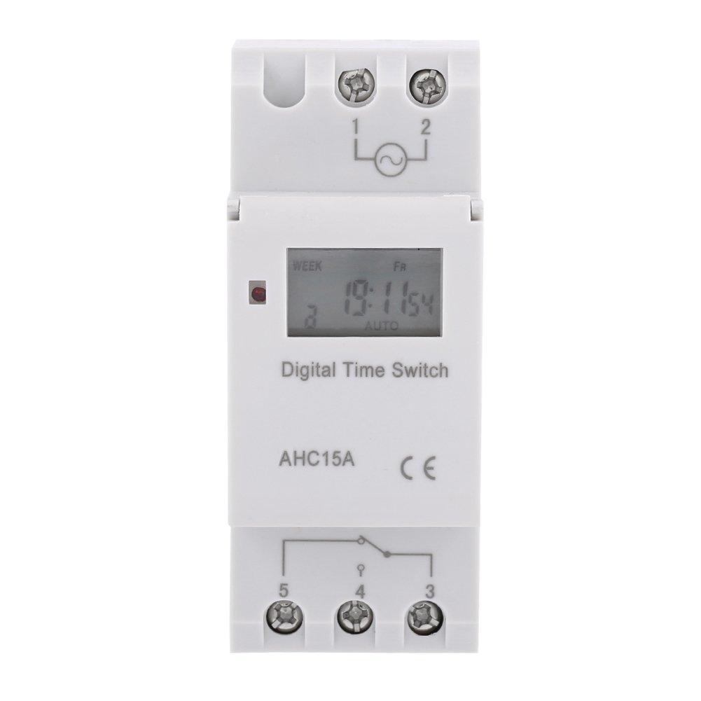Interruptor Temporizador electrónico programable LCD DIN planificador semanal 16A(24V): Amazon.es: Bricolaje y herramientas