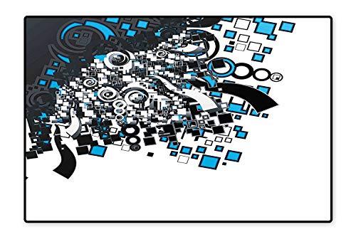 (Kid Non Slip Rug Pad Funky Retro Circles Spirals Square Forms Little Cubes Urban Modern Artwork Grey Blue White Dual Surface 6'6