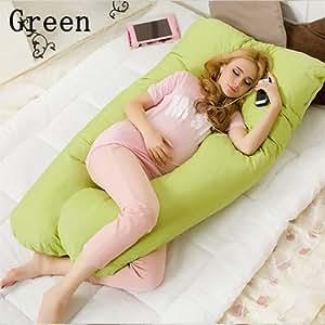 PINGJING Maternity Pillow Pregnancy Boyfriend Arm Body Sleeping Pillow To Sleep Cover Cushion Pillow Case Pillow Cover + pillow inner( Including filler ) (Green)