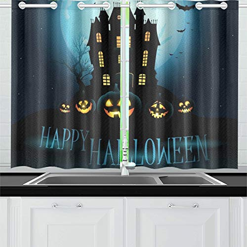 ENEVOTX Halloween Haunted House Kitchen Curtains Window Curtain Tiers for Café, Bath, Laundry, Living Room Bedroom 26 X 39 Inch 2 -