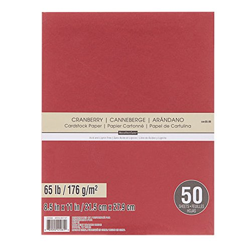 Recollections Cardstock Paper, 8 1/2 X 11 CRANBERRY - 50 Sheets