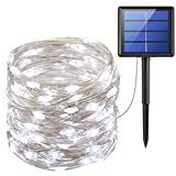 AMIR Solar Powered String Lights, (200 LED, 8 Modes) Starry Fairy Lights, 72 ft/20m Solar Fairy String Lights, Outdoor solar lights for Christmas, Patio, Garden, Wedding, Party (White)