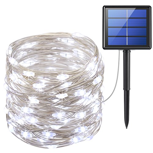 AMIR Solar Powered String Lights, 200 LED Copper Wire Lights, 72ft 8 Modes Starry Lights, Waterproof IP65 Fairy Christams Decorative Lights for Outdoor,Wedding, Homes, Party, Halloween (White)