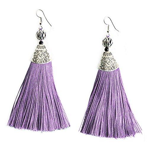 Me&Hz Violet Long Fringe Boho Drop Earrings Ethnic Light Purple Silk Tassel Dangle Earring for Women Girls