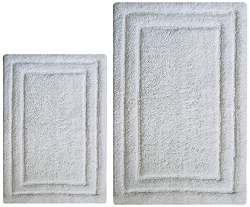 Chardin Home - 100% Cotton two Piece Classicc Bath Rug Set, (21''x34'' & 17''x24'') with anti-skid spray latex back, White