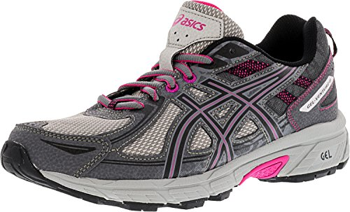 ASICS Women's Gel-Venture 6 Running-Shoes,Carbon/Black/Pink Peacock,6 D US