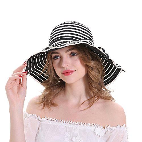 MEEFUR Womens Summer Lightweight Sun Hats Breathable Fabric UPF 50+ Beach Hat Stripes Foldable Wide Brim Narrow Bowknot Cap