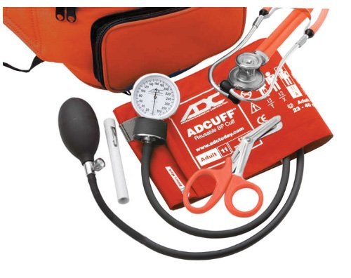 ADC Pro's Combo IV 769/641 Fanny Pack Kit with Pocket Aneroid Sphygmomanometer, Stethoscope, Shears and Penlight, Adult, Orange