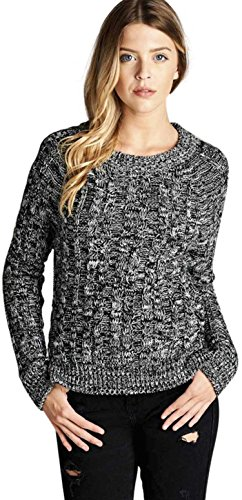 ToBeInStyle Women's L.S. Crew Neck Marled Cable Knit Sweater - Black - Small (Cable Marled)