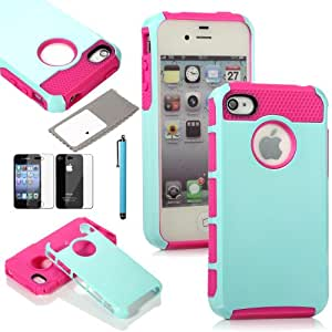 ATC Masione(TM) Armor Defender Hybrid Silicone/PC Case Skin for iPhone 4 4s + Free Screen Protector & Stylus (Light Blue+Rose Red)