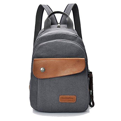 manjianghong Small Canvas Backpack Satchel Casual Rucksack Backpack Travel Messenger Bags
