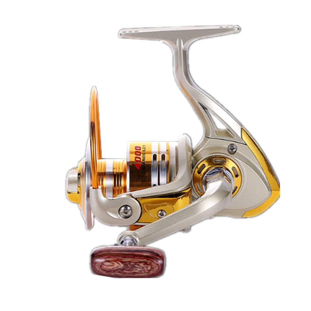 6000 Smooth Spinning Reel Fishing Reel Hand Wheel Spinning Fishing Reel Left Right Interchangeable Handle for Saltwater Freshwater Fishing with Double Drag Brake System Fishing Gear Fishing Tools