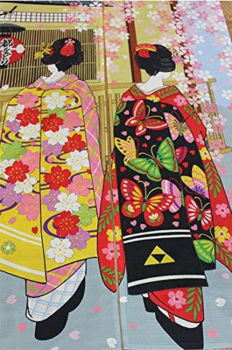 LIGICKY Noren Rideau Japonais Long Tapisserie Fen/être Rideaux Panneau Tenture Tapisserie D/écoration 85/×150cm,Kyoto Geisha Maki Dance