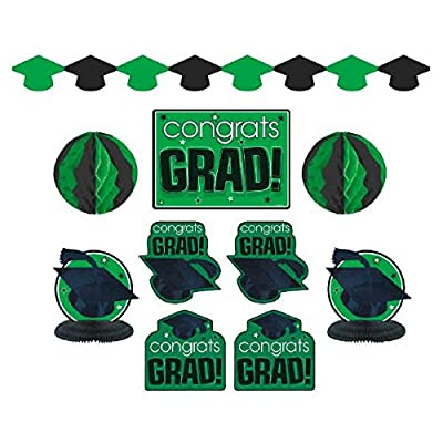 "Amscan""Congrats Grad!"" Graduation Party Room Decorating Kit (10 Piece), Green/Black, One Size: Kitchen & Dining"