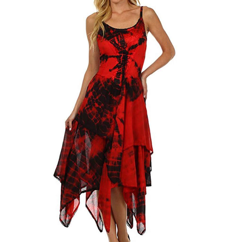 COOKI Women Dresses Irregular Tie Dye Sleeveless Lace Up Corset Bodice Handkerchief Hem Dress Summer Beach Sun Dress Red by COOKI Women Dresses