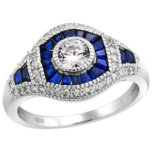 Sterling Silver Art Deco Ring Round CZ 5mm Synthetic Baguette Blue Sapphires 1/2 inch wide, size (Sapphire Art Deco Ring)
