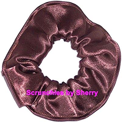 Amazon.com   Satin Fabric Hair Scrunchie Handmade by Scrunchies by Sherry  (Brown)   Beauty 0664dea0677