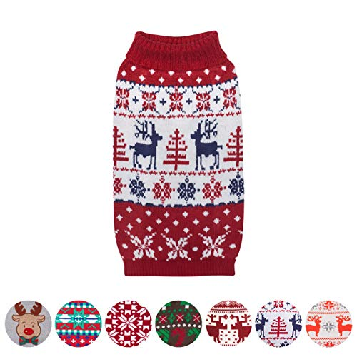 Blueberry Pet Vintage Ugly Christmas Reindeer Holiday Festive Pullover Dog Sweater in Tango Red & Navy Blue, Back Length 16