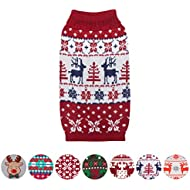 """Blueberry Pet Vintage Ugly Christmas Reindeer Holiday Festive Pullover Dog Sweater in Tango Red & Navy Blue, Back Length 14"""", Pack of 1 Clothes for Dogs"""