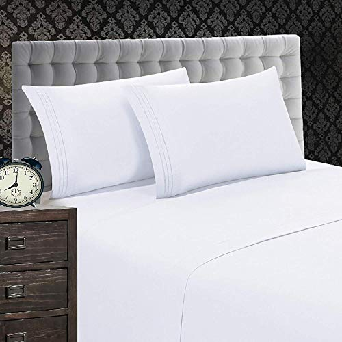 Elegant Comfort 1500 Thread Count Luxury Egyptian Quality Wrinkle and Fade Resistant 3-Piece Sheet Set, Twin/Twin X-Large, White