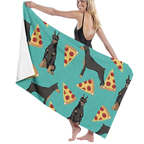 Doberman Pinscher Tapestry - Microfiber Bath Towels Multipurpose for Sand Free & Extra Large Daily Use Bath Towels Travel Towels Lightweight for Beach Sport, Swim, Travel, Gym, Doberman Pinscher Turquoise Pizza