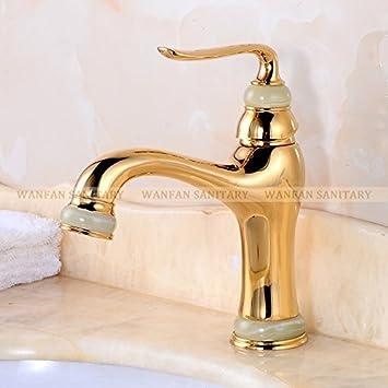 Tour Meler Lujo Golden/Antiguo latón grifo baño grifos solo mango ...