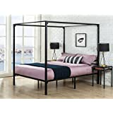 Zinus Metal Framed Canopy Four Poster Platform Bed Frame/Strong Steel Mattress Support/No Box Spring Needed, Queen