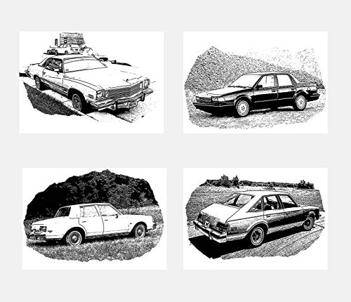 Wall Art Decoration Black and White Illustration Cars Machine Buick Century Poster Prints Set of 4 Size A4 (21cm x 29cm) Unframed for Minimalist Art Automobile Lovers ()