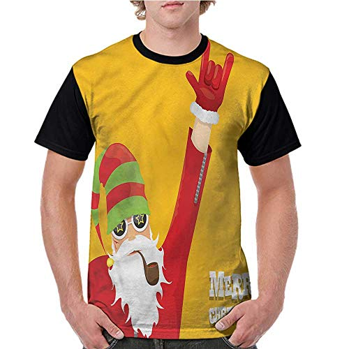 Graphic T-Shirt,Indie,Biker Santa Smoking Pipe S-XXL Women Baseball Short Sleeve ()