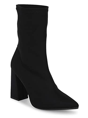 f92de98fba1 TRUFFLE COLLECTION Black Lycra Sock Block Heel Ankle Boots  Buy Online at  Low Prices in India - Amazon.in