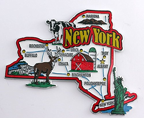 New York State Map And Landmarks Collage Fridge Souvenir Collectible Magnet Fmc