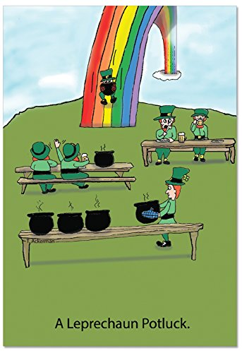 (C1638SPG 'Leprechaun Potluck' - Funny St. Patrick's Day Greeting Card with 5
