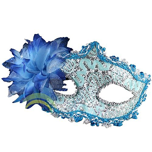 FuzzyGreen Fashion Ladies Women Party Mardi Gras Carnival Costume Venetian Pattern Blue Flower and Feathers Lace Sequins Rhinestones Décor Mask (Lady Costume Mask)