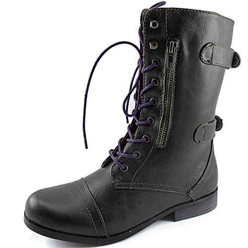 top Women's Dailyshoes Evan-10 Ankle Zipper Strap Military Combat Boots, 10 B(M) US … supplies