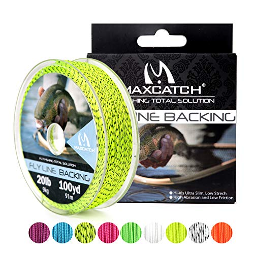 - M MAXIMUMCATCH Maxcatch Braided Fly Line Backing for Fly Fishing 20/30lb(White, Yellow, Orange, Black&White, Black&Yellow) (Yellow&Black, 30lb,300yards)