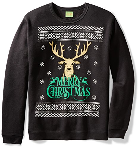 Ugly Fair Isle Unisex Fleece Merry Christmas Reindeer Crewneck Sweatshirt Medium (Neck Jumper)