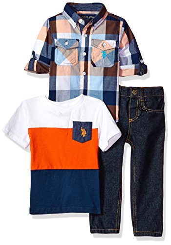 U.S. Polo Assn. Boys' Toddler Long Sleeve, T-Shirt and Pant Set, Multi Plaid, 3T