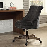 Stylish Plush Desk Chair with Dark Walnut Wood Base, Metal Casters for Mobility, Seat and Back Upholstered with Soft Tufted Fabric, Sturdy and Durable Frame + Expert Home Guide by Love US