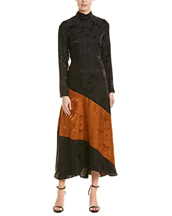 97388d07 Image Unavailable. Image not available for. Color: Ganni Womens Horses  Ackerly Silk Midi Dress, 38, Black