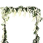 HOMDECO-56-Feetpcs-Artificial-Silk-Wisteria-Vine-Rattan-Silk-Hanging-Flower-Garland-Ivy-Plants-for-Outdoor-Wedding-Party-Home-Garden-Wall-DecorationPack-of-4-Milk-White