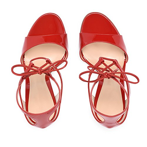 Red Summer Platform for Pointed Sandals Patent Shoes Comfort 42 Stiletto Dress amp; Bandages Red Toe Size Heel Leather Evening Color Party Women's Ladies t7g4UwqnO
