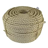 Twisted Sisal Rope (1/4 inch) - SGT KNOTS - All Natural Fibers - Moisture/Weather Resistant - Marine, Decor, Projects, Cat Scratching Post, Tie-Downs, Wicker Chair, Indoor/Outdoor (100 feet)