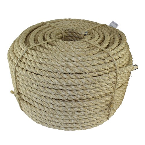 Twisted Sisal Rope (1 inch) - SGT KNOTS - All Natural Fibers - Moisture / Weather Resistant - Marine, Decor, Projects, Cat Scratching Post, Tie (Downs, Wicker Chair, Indoor/Outdoor (10 feet) (Rope 1 In)