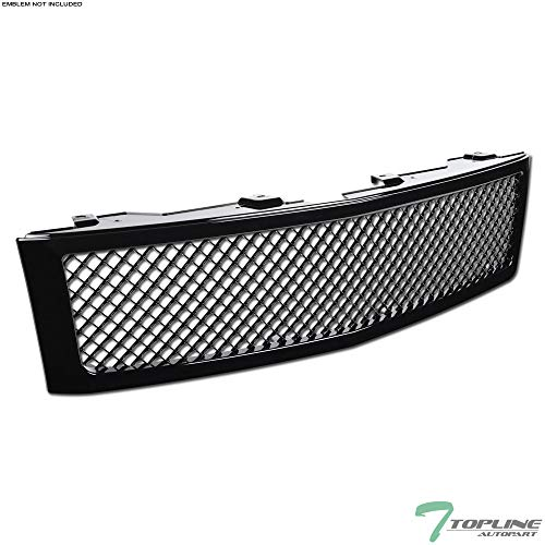 Topline Autopart Black Mesh Front Hood Bumper Grill Grille ABS For 07-13 Chevy Silverado 1500 ()