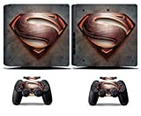Cosines PS4 Slim Stickers Vinyl Decal Protective Console Skins Cover for Sony Playstation 4 Slim and 2 Controllers Super Hero S Logo Symbol