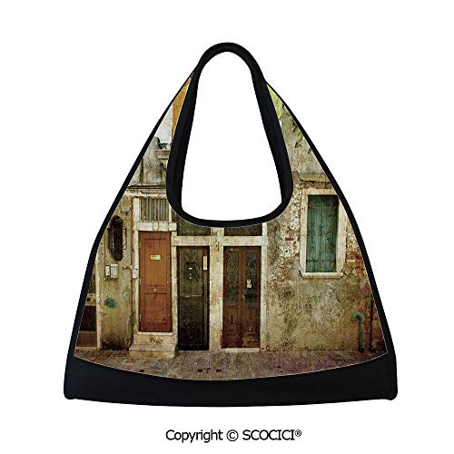 Fitness bag,Old Weathered Building Facade with Hanged Clothes Murano Island Grunge Architecture,Bag for Women and Men(18.5x6.7x20 in) Multicolor