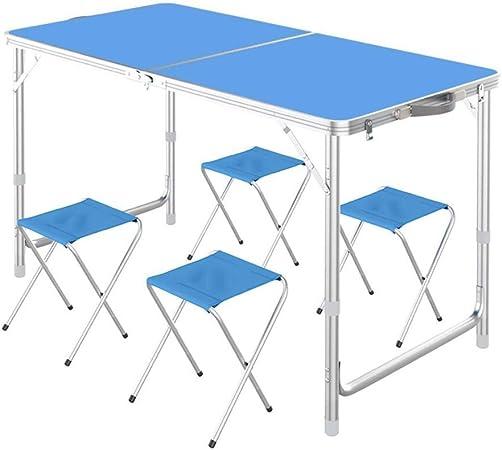 LSS Juego De Taburetes De Mesa Plegable, Mesas Plegables Portátiles De Aluminio Y Sillas para Actividades Al Aire Libre, Pesca, Camping, Barbacoa, Playa (Color : Azul): Amazon.es: Hogar