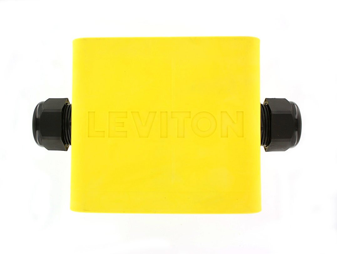 Leviton 3200F-2Y Portable Outlet Box, Two-Gang, Standard Depth Feed-Thru Style, Cable Diameter 0.590-Inch, 1.000-Inch, Yellow