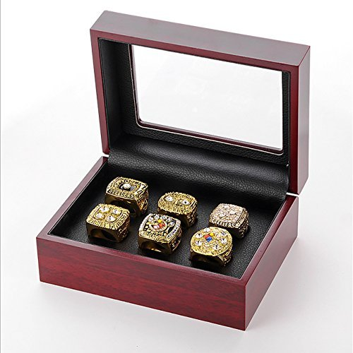 GF-sports store A Set of 6 Pittsburgh Steelers Super Bowl Championship Replica Ring by Display Box Set-(Yellow) by GF-sports store (Image #4)