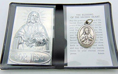 Prayer Folder - Sacred Heart Prayer Folder Set with Medal from Italy & Gift Bag